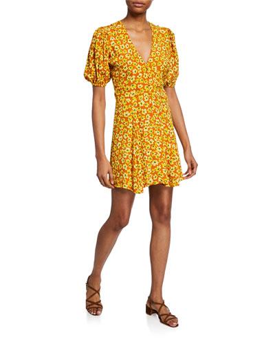 Ilia Floral Puff-Sleeve Mini Dress