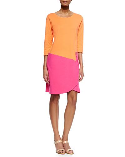 Petite 3/4-Sleeve Colorblock Dress, Fuchsia/Coral