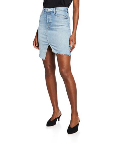 a27ef887bc Quick Look. MOTHER · The Tomcat Slide Mini High-Waist Frayed Denim Skirt