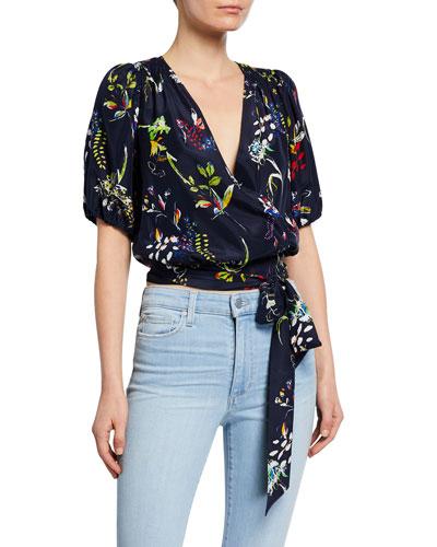 Leira Floral-Print Short-Sleeve Tie-Waist Crop Top