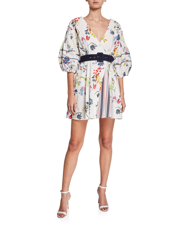 Tanya Taylor Dresses RACHELE II FLORAL-PRINT BALLOON-SLEEVE BELTED MINI DRESS