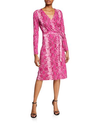 9992371fd98a Quick Look. Diane von Furstenberg · Julian Long-Sleeve Python-Print Wrap  Dress