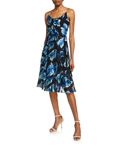 Heather Leaf-Print Sleeveless Mock-Wrap Dress