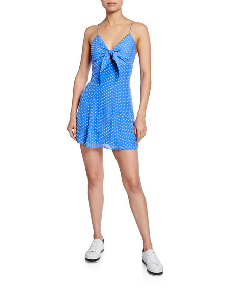 Alice + Olivia Roe Tie-Front Sleeveless Mini Dress