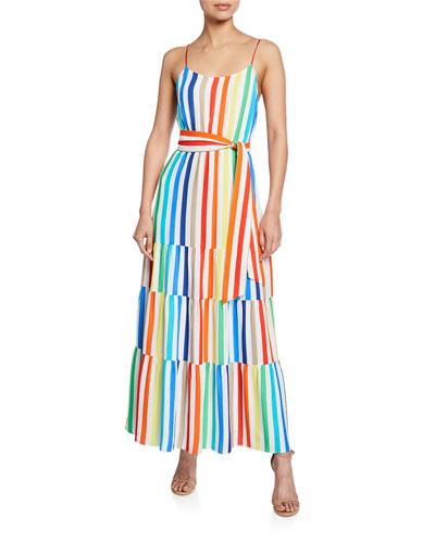 Janan Spaghetti Strap Midi Peasant Dress