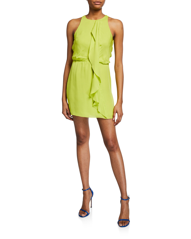High-Neck Sleeveless Drape-Front Mini Georgette Dress