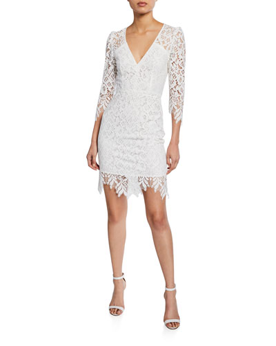 Late Night 3/4-Sleeve Mini Lace Dress