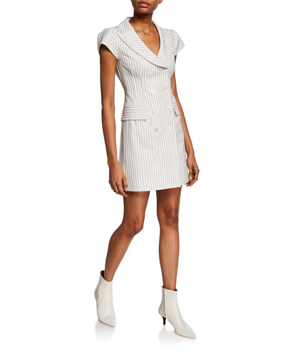 Striped Double-Breasted Cap-Sleeve Mini Coat Dress