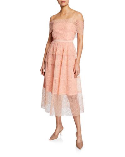 Girl Talk Embroidered Tulle Midi Dress