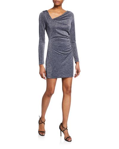 Mallory Long-Sleeve Metallic Cocktail Dress