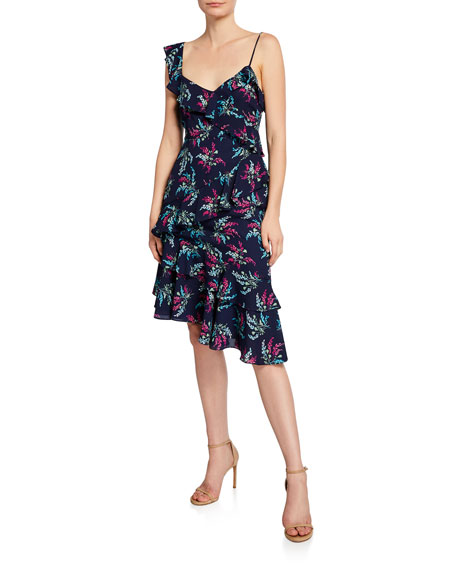 Likely Ophelia Floral Asymmetrical Dress with Ruffles