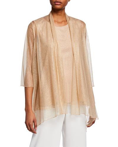 Plus Size Twinkle Metallic Shimmer Mesh Cardigan