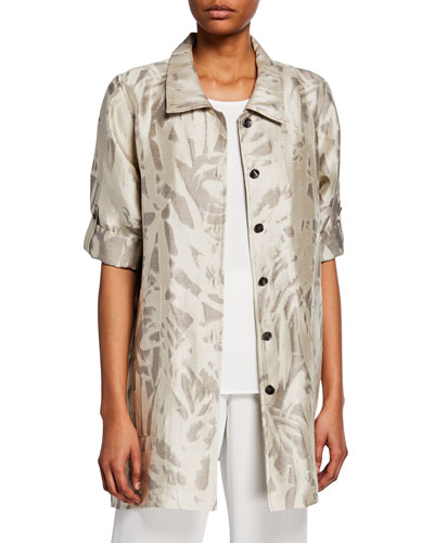 Plus Size Natural Attraction Jacquard Button-Front Long Shirt