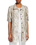 Caroline Rose Natural Attraction Jacquard Button-Front Long Shirt