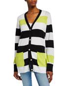 Joan Vass Plus Size Striped Button-Front Cotton Cardigan
