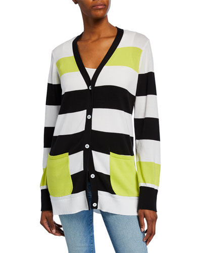 Plus Size Striped Button-Front Cotton Cardigan w/ Pockets