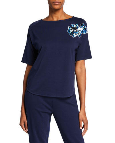 Sequined Flower Short-Sleeve Cotton Interlock Tee