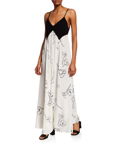 Dianna Two-Tone Spaghetti-Strap Maxi Dress