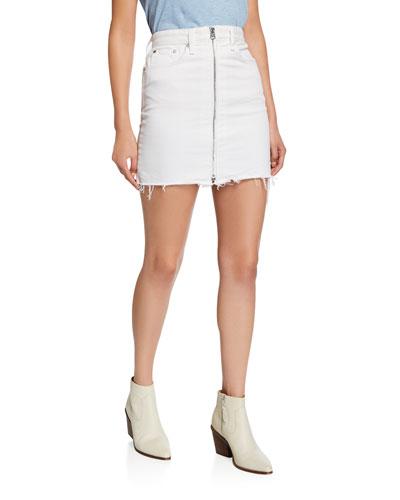 Anna Zip-Front Frayed Mini Skirt