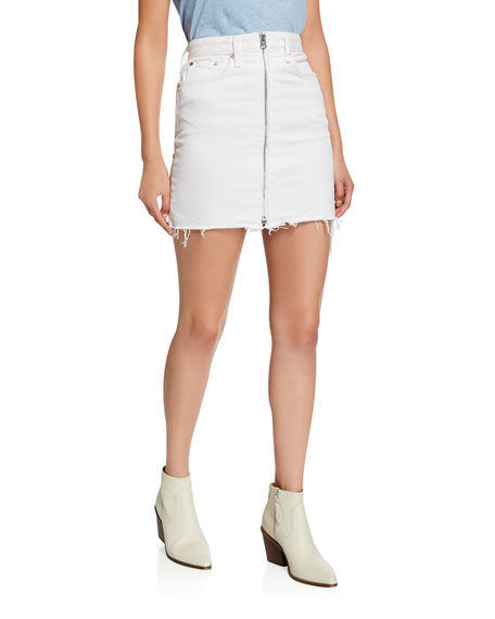 Rag & Bone Anna Zip-Front Frayed Mini Skirt