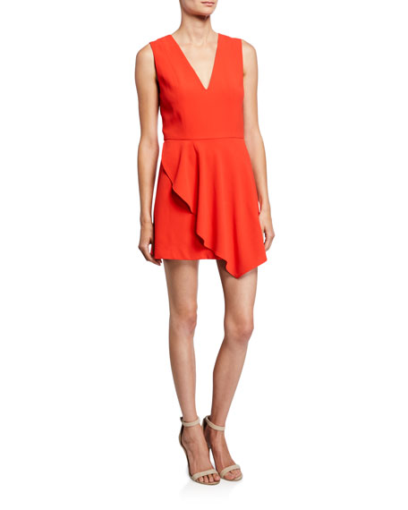 Alice + Olivia Callie V-Neck Sleeveless Asymmetric Drape Short Dress