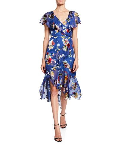 Electra Asymmetric Ruffle High-Low Dress