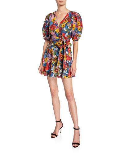 Kerri Floral Bishop-Sleeve Wrap Dress
