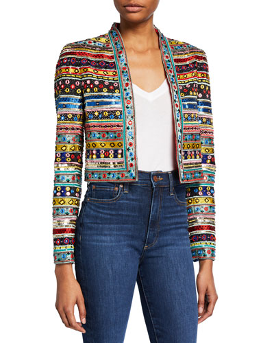 New Harvey Embellished Open-Front Jacket