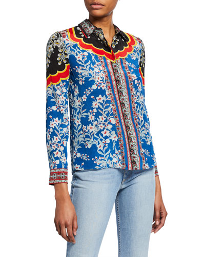 Willa Floral-Print Button-Down Long-Sleeve Silk Shirt