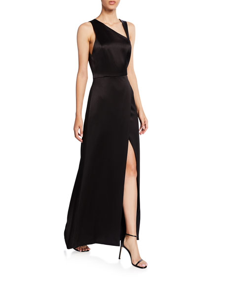 Alice + Olivia Pamela Leather Combo High-Slit Gown