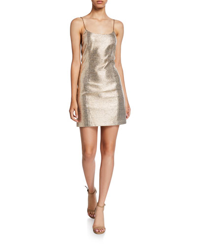 Nelle Metallic Spaghetti-Strap Mini Dress