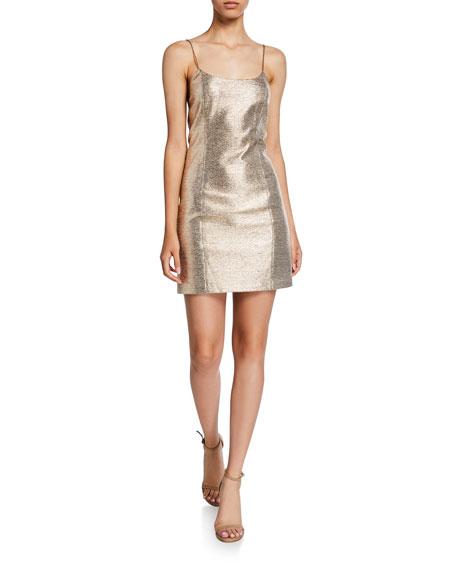 Alice + Olivia Nelle Metallic Spaghetti-Strap Mini Dress
