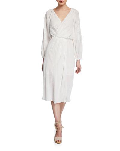 Lidayne Embroidered Wrap Midi Dress