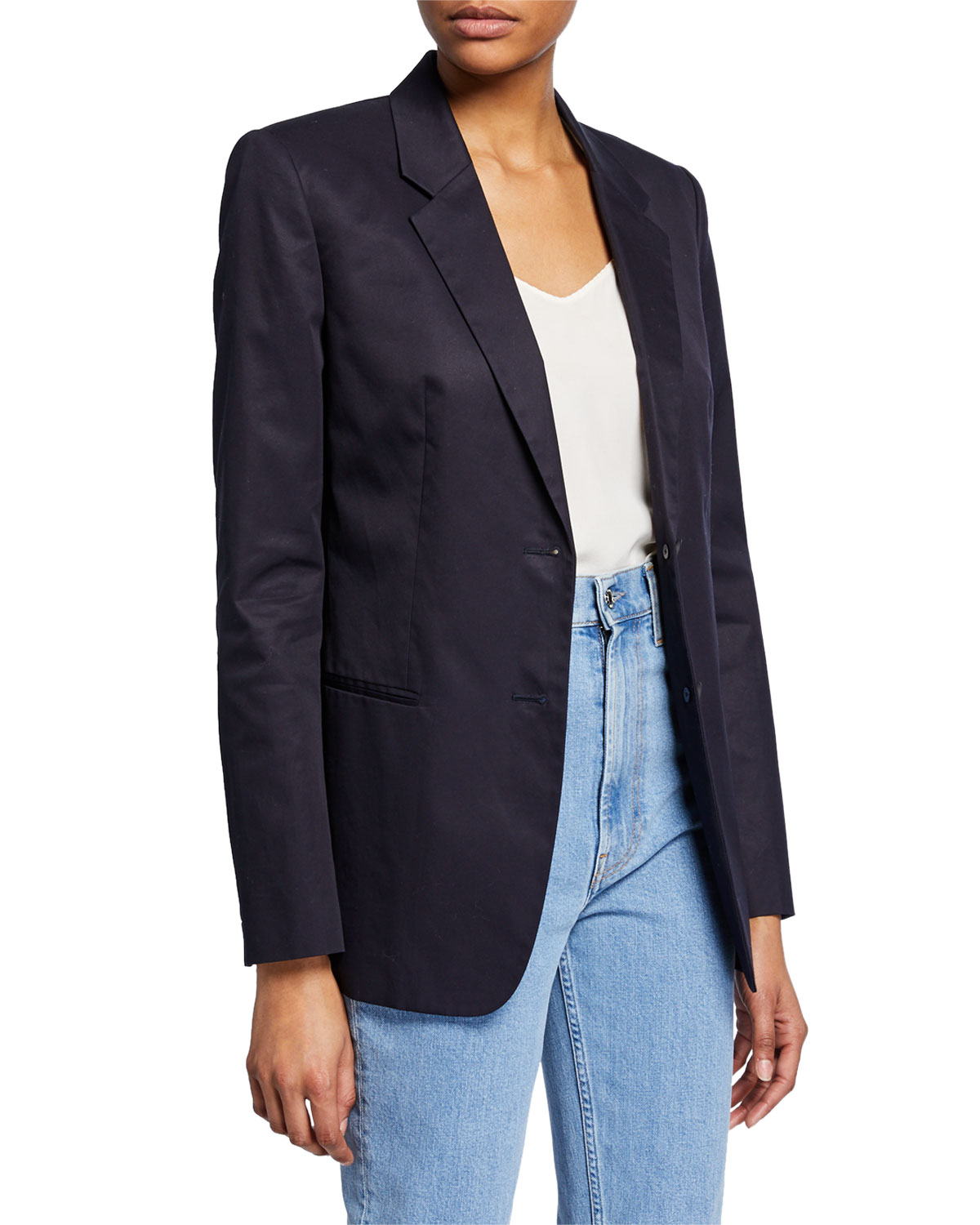 Helmut Lang Blazers RESIN COTTON TWILL TWO-BUTTON BLAZER