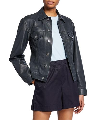 Femme Trucker Lambskin Leather Jacket
