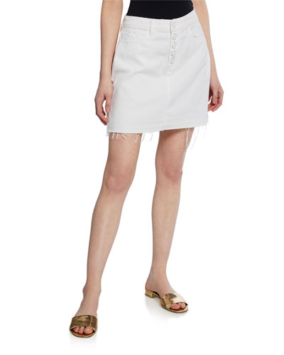 Aideen Mini Skirt w/ Exposed Buttons