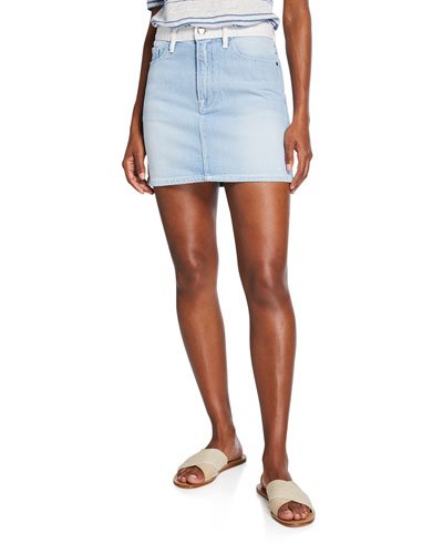 18912b8d23 Quick Look. FRAME · Le Mini Two-Tone Denim Skirt