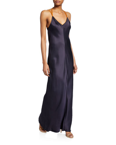 Rubberband V-Neck Satin Slip Dress