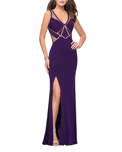 V-Neck Sleeveless Open-Back Jersey Gown with Geometric Illusion