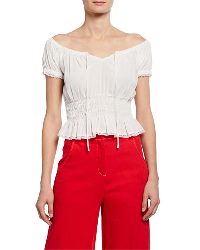 Romy Off-Shoulder Short-Sleeve Smocked Crop Top