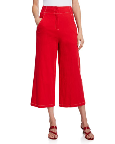 Nixon High-Rise Wide-Leg Crop Pants