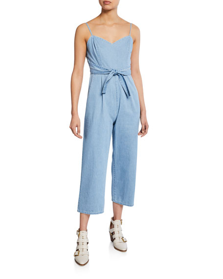 ASTR Edie Sweetheart Spaghetti-Strap Crop Denim Jumpsuit