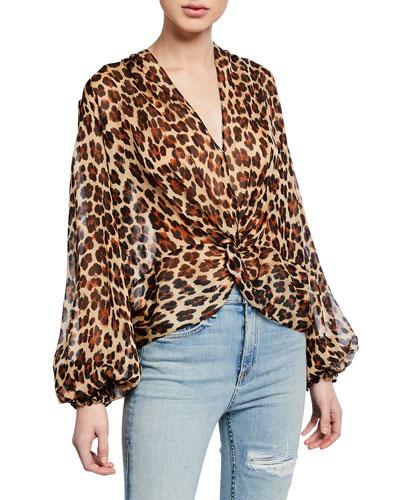 Bette Leopard-Print Twist-Front Blouson-Sleeve Top
