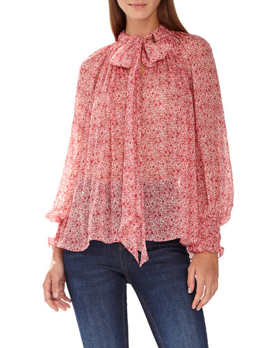 Micro Floral-Print Long-Sleeve Blouse w/ Tie-Neck