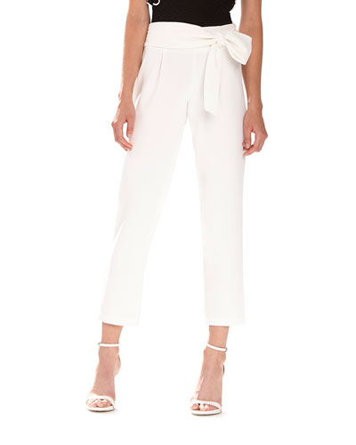Crepe Tapered Pants with Bow Detail
