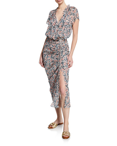 Brynlee Floral-Print Slit Midi Dress