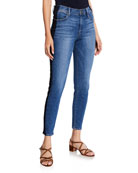 FRAME Le High-Rise Skinny Crop Tuxedo-Stripe Denim Jeans