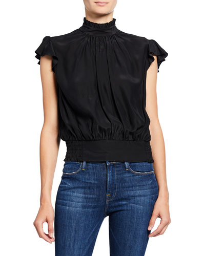 Mock-Neck Cap-Sleeve Smocked Ruffle Top