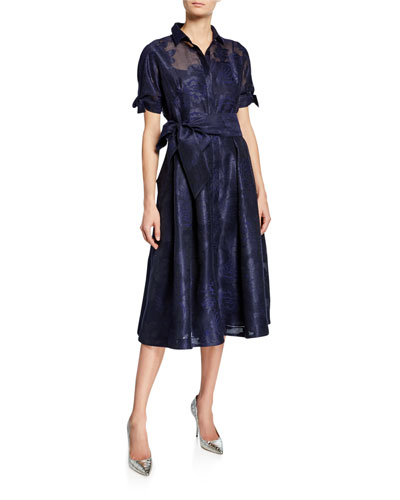 Short-Sleeve Belted Burnout Jacquard Shirtdress
