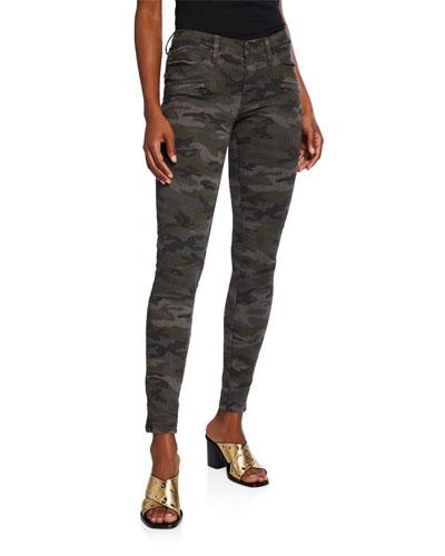Zip-Pocket Camo-Print Skinny Jeans